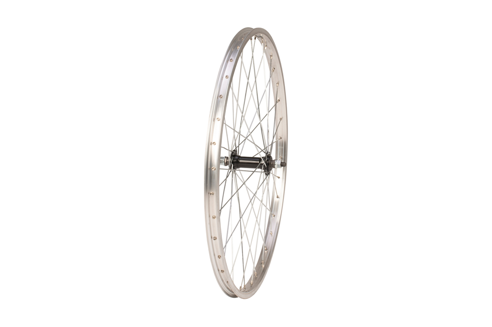 Front wheel - 24 inch - nutted axle - rim brake - silver