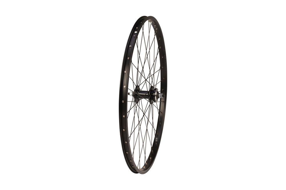 Front wheel - 26 inch - nutted axle - 6-bolt disc brake - black